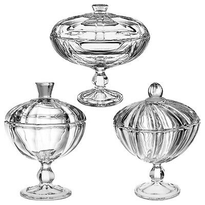 Crystal Glass Sweet Chocolate Candy Bowl Dish Stand Serving Centrepiece With Lid • 9.99£
