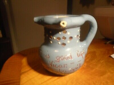 Blue Puzzle Jug With Motto Ch.brannam,north Devon • 21£