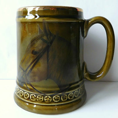 Horse Tankard Lord Nelson Pottery Staffordshire Vintage 1970s Pint Mug FLAWED • 8£