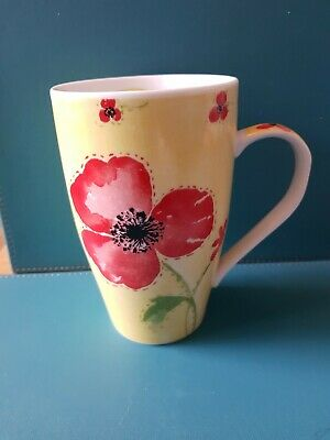 POPPY LARGE LATTE STYLE MUG Yellow And Red • 7.99£
