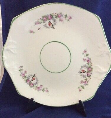 Beautiful 1930s Swinnertons Cake /sandwich Plate With Robin And Rose Bud Design • 25£