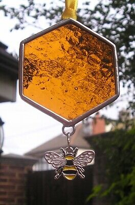 Stained Glass Honeycomb With Bumble Bee Charm, Suncatcher, Handmade In England • 10£