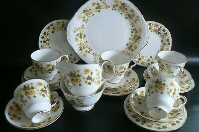 Queen Anne China Tea Set Ashley Yellow Flowers 19 Piece • 35£