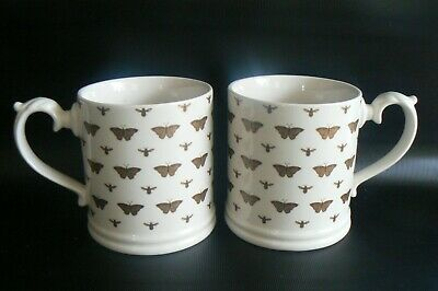 M&S Gold Butterflies & Bees Mugs X 2 Excellent Condition • 10£