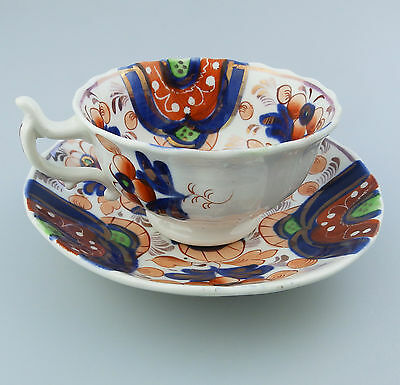 Gaudy Welsh Antique English Pottery  A Good Victorian Cup & Saucer 19thC  • 56£