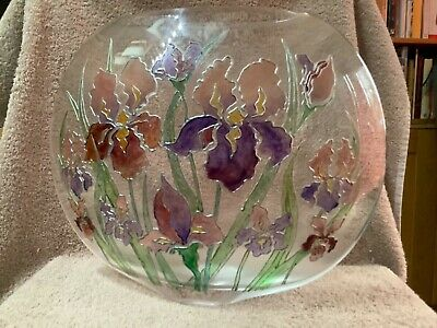 Decorative Vase - Clear Glass With Tube Outlined Flowers. Purse Shaped • 38£