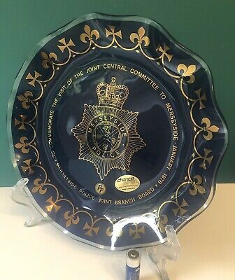 VERY RARE Chance Glass Fiesta Ware Merseyside Police Large Ruffled Blue Plate • 15£