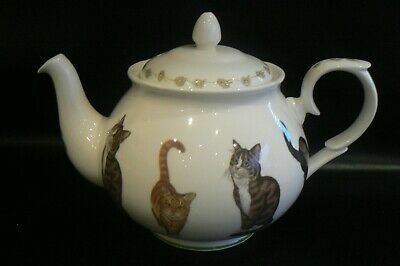 Vintage MARKS & SPENCER Cat Design Teapot 1998 St Michael 2.5pt • 18£