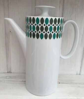 THOMAS Porcelain China Medallion Green Leaves Coffee Pot Made In Germany • 25£