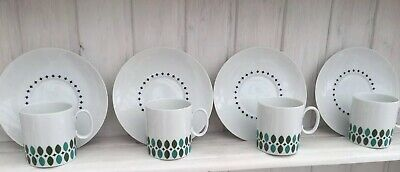 THOMAS Porcelain China Medallion Green Leaves  Four Tea Coffee Cups And Saucers  • 35£