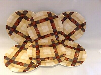 Vintage CROWN DUCAL Brown & Beige Check Side Plates X 6 • 15£