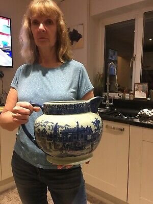 """VERY LARGE VICTORIA WARE IRONSTONE PITCHER/ JUG 9""""tall X10.5""""wide • 95£"""