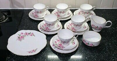 Royal Sutherland H & M Fine Bone China Tea Set Pink Roses Cups Saucers Plates • 35£