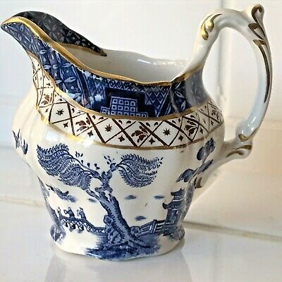 Booths Real Old Willow A8025 Small Milk Jug Creamer Gold/ Brown Ht 7.5cm • 11.99£