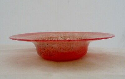 Monart Glass Scotland Shallow Bowl/dish Df Mottled Pinks & Reds • 31.99£
