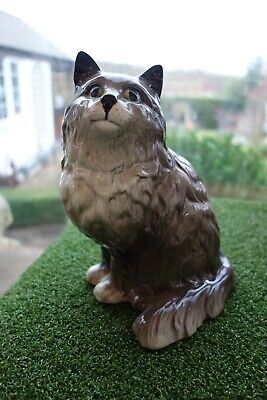 VINTAGE LARGE BESWICK 8 INCH PERSIAN CAT SEATED - 1867. Grey Shaded • 24.95£