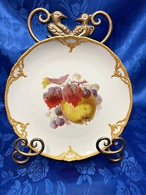 Antique Kpm Old Mark Red Orb Hand Painted Fruit Cabinet Plate • 218.93£