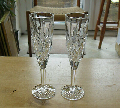 Pair Of Stuart Crystal Tewkesbury Champagne Flutes - 8 1/4 (21cms) • 32.50£