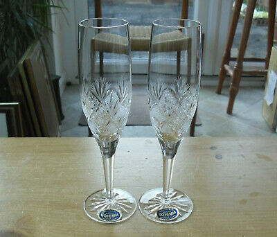 Pair Of Bohemia Crystal Elaborately Cut Champagne Flutes - >8 3/4 (22.5cms) • 27.50£
