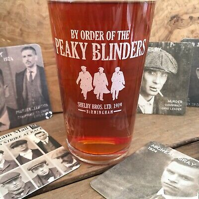 Peaky Blinders Pint Glass Tommy Shelby Birthday Xmas Gift Plus 6 FREE Beer Mats • 6£