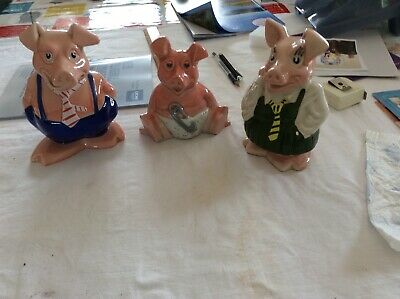 3 X Wade Nat West Pigs Piggy Banks With Original Stoppers • 25£