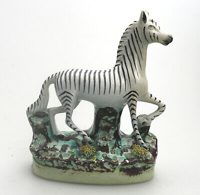 Vintage Staffordshire Pottery An Attractive Zebra C.20thC • 68£