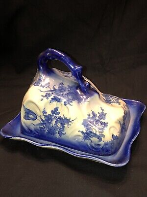 Vintage Ironstone Large Blue And White Cheese Dish With Handle • 18.99£
