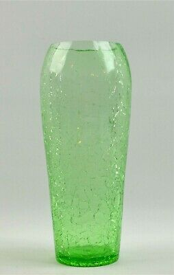 Green Clear Crackle Glass Flower Bud Vase  7  Tall  • 11.64£
