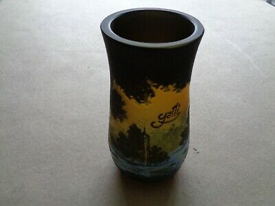 Galle Cameo Glass Vase With Design Of Egrets, Signed • 125£