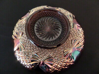 Pineapple Amethyst Carnival Glass Low Bowl - Sowerby, Uk • 10£