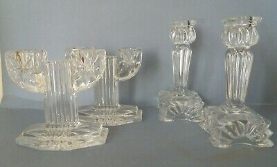 2 Pairs Vintage Pressed Clear Glass Candlesticks  • 10£