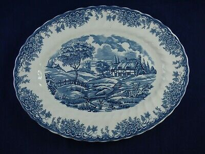 Churchill Pottery Blue & White Oval Platter Rural Country Cottage Scene • 9.95£