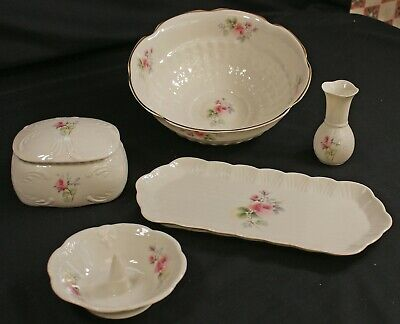 Five Pieces Donegal Parian China Bowl,ring Tray,bud Vase,jewellery Box Trinket   • 29.99£