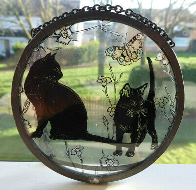 Vintage Scottish Borders Hand Painted With Cats And Butterflies Suncatcher • 15£