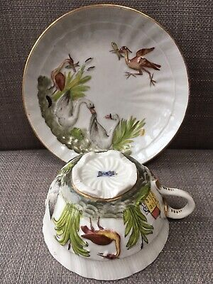 Rare Antique Herend Swans And Cranes Porcelain Cups And Saucer • 185£