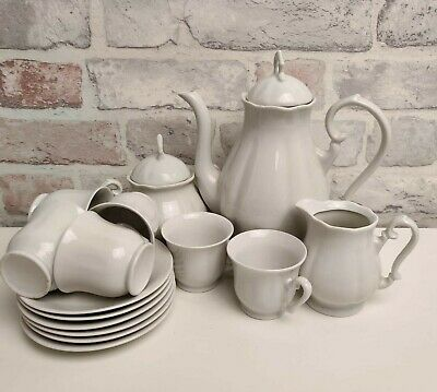 Plain White Porcelain/China 6pc Tea Set Incl Teapot Lidded Sugar Bowl & Milk Jug • 22.99£