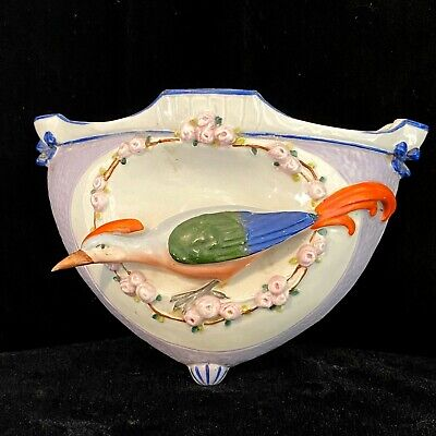 Vtg. Ceramic Recessed Roadrunner Bird Wall Pocket With Flowers & Bows • 24.37£
