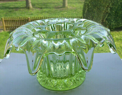 Vintage Art Deco Sowerby Lily Art Glass Vase With Frog Pat 2505 • 18£