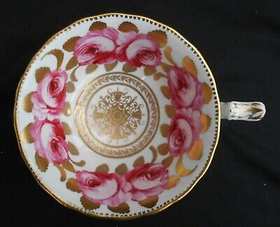 Antique China Tea Cup Hand Painted Pink Roses Gold Gilt • 24.99£