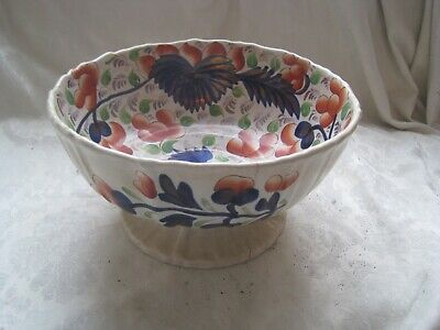 VINTAGE Shabby Chic GAUDY Welsh VICTORIAN China BOWL Hand Painted STONEWARE • 17.36£