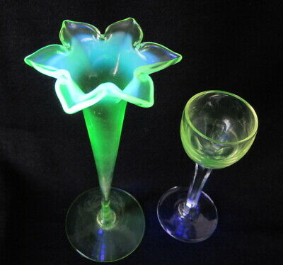 Two 19th Century URANIUM / Vaseline GLASSWARE Items  STEMMED GLASS And BUD VASE  • 9.50£
