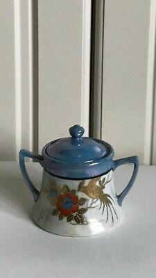 Chikaramachi Antique Japan Lusterware Gold Bird Hand Painted Sugar Bowl & Lid • 7.99£