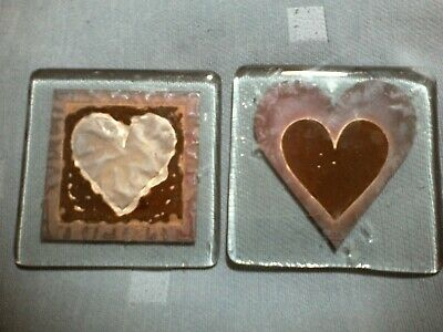 2 Lovely Jo Downs Handmade Square Glass Drinks Coaster Heart Motif In VGC • 9.99£