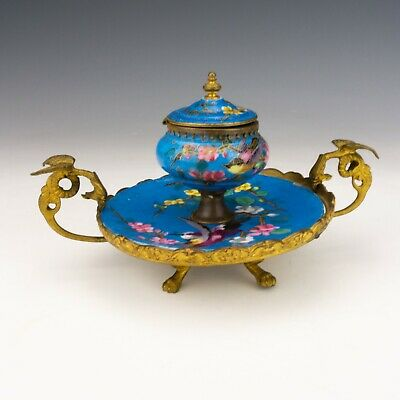 Antique French Porcelain Hand Painted Bird Inkstand Inkwell - Ormolu Mounts! • 30£