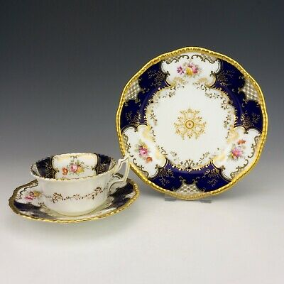 Vintage Coalport Batwing China - Cobalt Blue  - Cabinet Cup, Saucer & Plate Trio • 6.50£