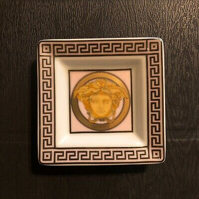 VERSACE Rosenthal Porcelain Medusa Square Dish Tray NEW Pale Pink & Gold • 31.95£