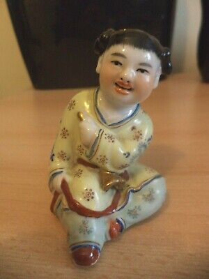 OLD Vintage Porcelain ORIENTAL JAPANESE CHINESE Child Ornament Solid Open Mouth • 29.99£