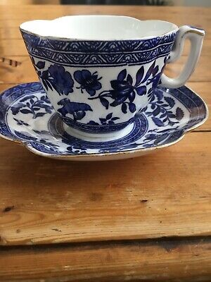 Antique Coalport Blue And White Fluted Cup And Saucer • 4£