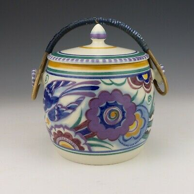 Poole Pottery - Blue Bird Exotic Flowers Hand Painted Biscuit Barrel - Art Deco • 19.99£