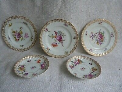 Job Lot Of 5 Antique Dresden Porcelain Hand Painted Dishes Plates. C19th • 9.99£